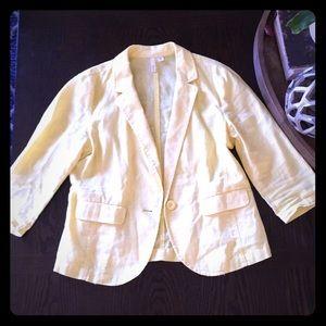Spring Yellow 3/4 Sleeve Linen Blazer